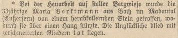 bei der Bergmahd von herabstürzendem Stein getroffen und getötet - Madautal bei Bach im August 1933