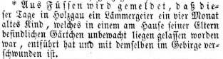 Zeitungsmeldung Wiener Zeitung vom 6. Juni 1854 - Lämmergeier entführt in Holzgau ein drei Monate altes Kind