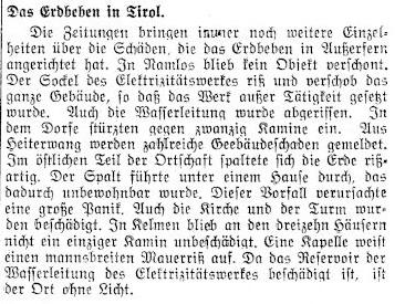 Zeitungsartikel Erdbeben Namlos 8. Oktober 1930