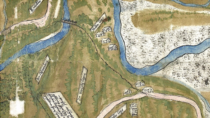 Karte Oberletzen und Unterletzen mit Lech und Kniepass von 1559