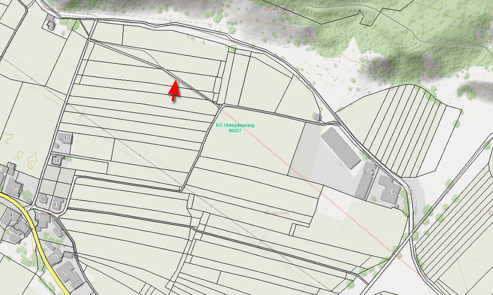 Kataster - Via Claudia Augusta bei Pinswang / Schluxen