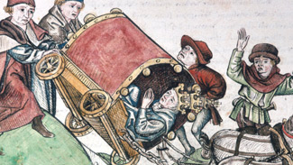 Johannes XXIII. kippt mit seinem Wagen auf dem Weg zum Konzil nach Konstanz am Arlbergpass um - 1414 - © gemeinfrei