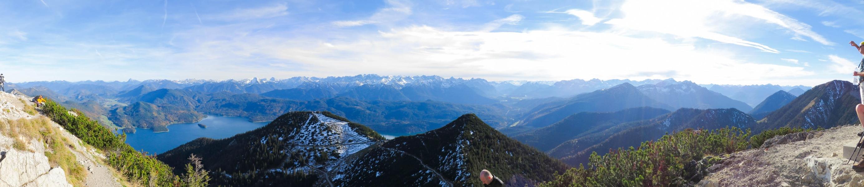 Panorama Herzogstand Walchensee über Ost, Süd und West